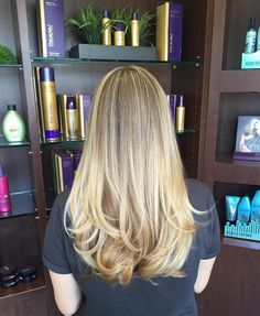 Long Straight White-Ash/Butterscotch-Blonde Hair with Short Layers Near the Ends