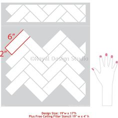 Create the look of faux ceramic subway tiles in your bathroom or on a kitchen backsplash by painting your walls with the Subway Tiles Herringbone Wall Stencil! Stencil Decor, Wall Stencil Patterns, Stencils, Tile Laying Patterns, Stencil Walls, Floor Stencil, Stencil Art, Art Decor, Herringbone Subway Tile