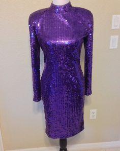 Vintage Purple Sequin Backless Dress Size 8 by Oldtonewjewels