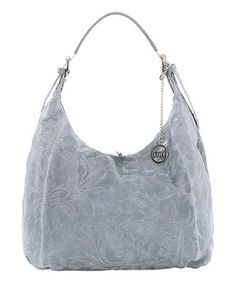 Another great find on  zulily! Gray Floral-Embossed Leather Hobo   zulilyfinds Мягкая 33209cd5384