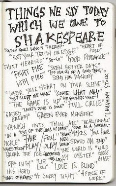 thepreppyyogini:    What we owe to Shakespeare….and these are just a minimum.