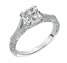Beautiful vintage inspired engagement ring by #artcarved made for a #cushion cut diamond #lovethis