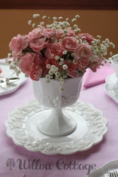 Milk glass & pink