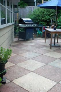 This One Seems Simpler    Try It On Back Patio! The Urban Un . Diy Concrete  PatioPainting Concrete PatiosPainted ...