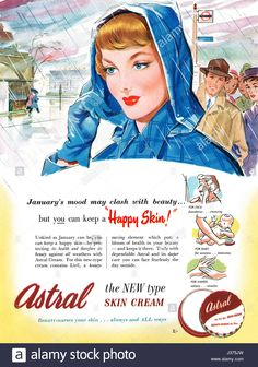 1951 British advertisement for Astral Skin Cream.