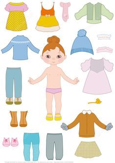 Child Girl Paper Doll with Clothes from Dress Up Paper Dolls category. Hundreds of free printable papercraft templates of origami cut out paper dolls stickers collages notes handmade gift boxes with do-it-yourself instructions. Paper Doll Template, Paper Dolls Printable, Clothing Templates, Quiet Book Templates, Templates Free, Dress Up Dolls, Doll Quilt, Clothes Crafts, Toddler Learning Activities