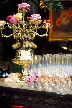 candelabra with roses instead of candles