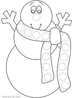 Снеговик в шарфике. Раскраска детская
