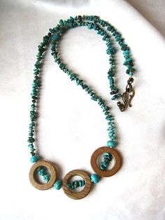 Turquoise and tiger jasper southwest necklace. Tribal, boho, statement jewelry in earthy blue and brown. Long, layering length by WildThingsAdornments #etsy #etsyfind