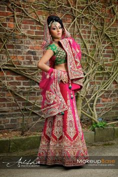 Pink and green lengha