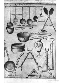 16th C Kitchen Utensils: Italy; from Opera di M. Bartolomeo Scappi: cuoco secreto de Papa Pio V (1570)