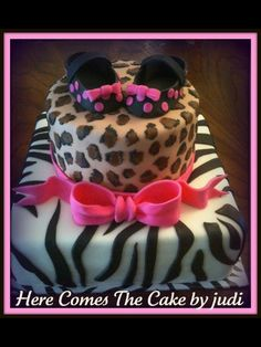 Animal print baby shower cake- love this for a girl :)