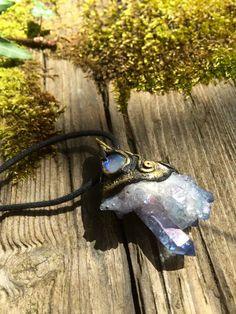 Lavender Aura Quartz and Opal Raw Gemstone Pendant by lanternmoss