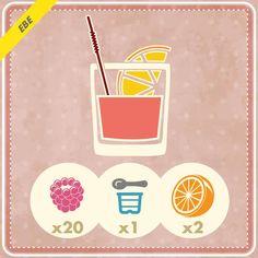 20 lamponi, 1 yogurt magro meglio se di di soya  e 2 arance.  Il gusto dolce dei lamponi e il gusto fresco delle arance, una combinazione perfetta di sali minerali, vitamine e fibre perfette per iniziare al meglio la giornata!