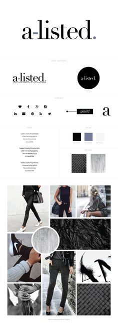 A-Listed Fashion Blog Design by White Oak Creative - logo design, wordpress theme, mood board inspiration, blog design idea, graphic design, branding