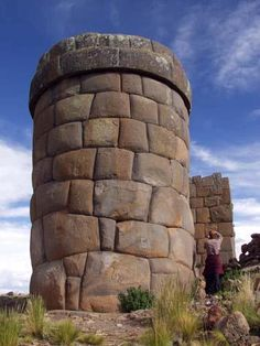 Chullpa of Cutimbo  ,  30 Km from  Puno, Titicaca lake area, Peru . A chullpa is an ancient Aymara funerary tower ; the tallest are about 12 metres  high.
