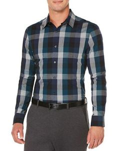 Perry Ellis Classic-Fit Exploded Plaid Dress Shirt Men's Black X-Large