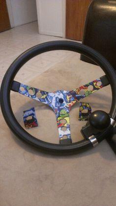 Graffiti duck tape to sticker bomb steering wheel