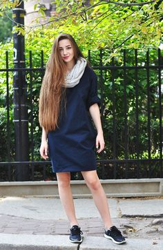 #clothes #fall #summer #dress #dark #blue #infinity #scarf #city #girl  Dress/scarf: www.magicboxclothes.pakamera.pl