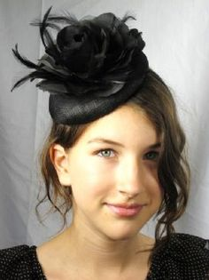 Black Sinamay Pill Box Hat Fascinator With Flower & Feathers Product Code: 5368