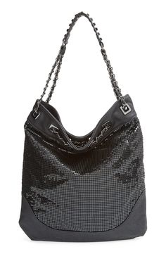 New crush! Love this black metallic mesh studded hobo.