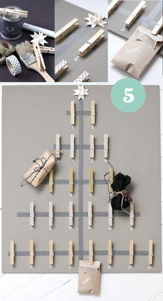 Calendarios de Adviento DIY. Ideas para hacer calendarios de adviento con distintos materiales como pinzas de la ropa, cajas, bolsas kraft o etiquetas.