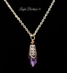 Amethyst Pendulum Necklace by leighswiccanboutique on Etsy