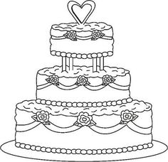wedding cake coloring page.html