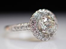 Vintage Diamond Unity Engagement Ring - 14k White Gold - Wedding Ring