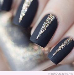 Black and gold Christmas nail design