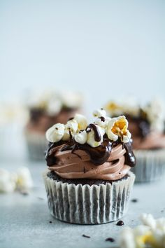 Chocolate cupcakes with popcorn
