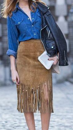 KATE MOSS style fringe 70' skirt