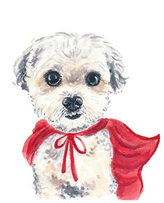 ORIGINAL Dog Watercolor Painting 8x10 por WaterInMyPaint en Etsy