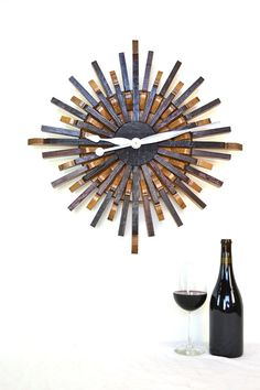 Wine Barrel Wall Art Radiant Clock by winecountrycraftsman