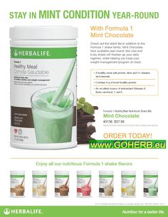 NEW FORMULA 1 FLAVOR! So yummy and healthy! FEEL FRESH and get in shape for summer in MINT CONDITION! ORDER NOW! Sabrina INDEPENDENT HERBALIFE DISTRIBUTOR since 1994 https://www.goherbalife.com/goherb/ Call USA: 001- 214 329 0702 Italia: 0039- 346 24 52 282 Deutschland: 0049- 5233 70 93 696 Skype: sabrinaefabio