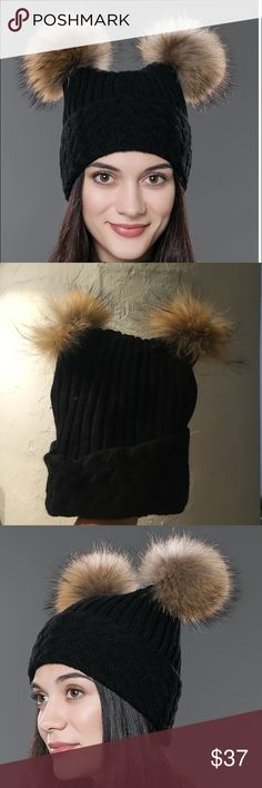 BRAND NEW FURRY POM POM HAT! Beautiful brand new black beanie with faux fox fur poms! Super durable and has fleece lining, packed in original packaging from purchase. Bought this online and the min I took it out of the box I knew it was sadly not going to fit me! The quality of the faux fur is UNREAL! Wish they made bigger sizes! Beautiful item to get you through these winter months! (Poms need fluffing upon arrival from being in box 👍🏼) Accessories Hats