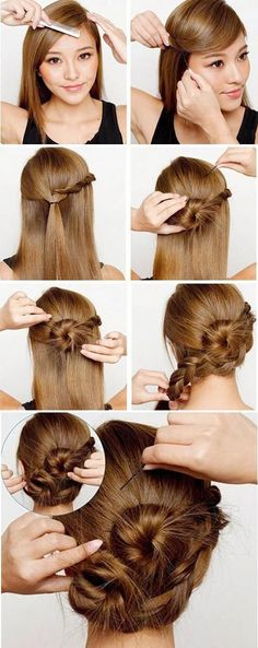 Pretty Braided Updo Hair Tutorial