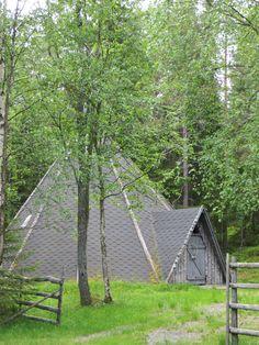 Traditional Sami hut in Rovaniemi, Finland.