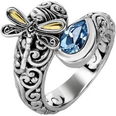 Phillip Gavriel - 18K Yellow Gold & Oxidized Sterling Silver Dragonfly Bypass Ring w/ 18-4.2mm Blue Topaz featuring polyvore women's fashion jewelry rings gold dragonfly jewelry blue topaz gold ring dragonfly jewelry 18 karat gold jewelry gold jewellery