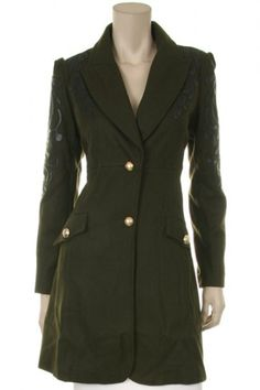 50 percent Polyester 50 percent Wool 1S/1M/1L Per Pack Army Green, Black This HIGH QUALITY jacket is BEAUTIFUL!! Made from a super cozy fabric, this GORGEOUS fully lined jacket has cute leather detailing on both shoulders, two GREAT side pockets, and fits true to size.