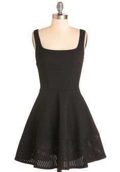 Met with Splendor Dress in Black. Your sweetie is keeping the location of tonights romantic rendezvous under wraps - so you dress for any occasion in this black A-line! #black #modcloth