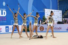 Greece's team performing the clubs routine during the FIG Rhythmic Gymnastic World Cup series Pesaro 2014.