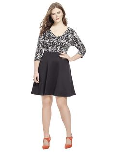0472b9e2790d7 Skater Dress In Black   Ivory Ikat by Lucie Lu