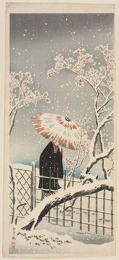 heaveninawildflower:'Plum Blossoms in Snow' (circa 1936). Woodblock print by Takahashi Hiroaki (Shôtei) (1871–1945). Publisher Watanabe ShôzaburôImage and text courtesy MFA Boston.