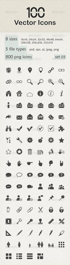 100 Vector Icons — Photoshop PSD #business #hand • Available here → https://graphicriver.net/item/100-vector-icons/6149440?ref=pxcr