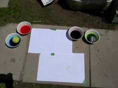 Ball Splat Painting - we did this but used washable paint and I put large paper up on the fence.  It was a great gross motor activity and my Dragon liked it BEST over the other activities we had.