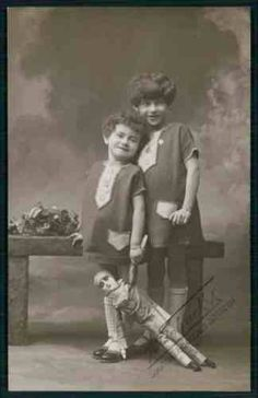 Private-Real-Photo-child-girl-sisters-Pierrot-Doll-original-1910s-RPPC-postcard