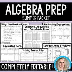 Algebra teachers can use it as a summer assignment for students who will be entering their class in the fall. 8th grade or Pre Algebra teachers can use it as an end of the year skills review. This packet includes 34 pages that cover 20 different topics.   The best part? The content is 100% editable!
