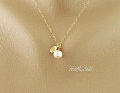 Initial Pendant Pearl Necklace, Personalized Monogram Necklace, Gold Leaf Charm…