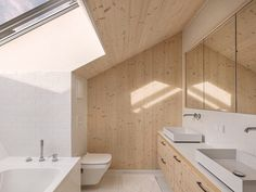 Image 11 of 25 from gallery of Leierhof / Maximilian Eisenköck Architecture. Photograph by Maximilian Eisenköck Sarah Richardson Home, Timber Boards, Smart Home Design, Huge Windows, Tiny House Cabin, Toilet Design, Street House, Tiny House Bathroom, Old Farm Houses